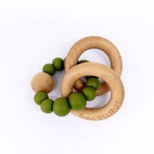 Teether by Loulou Lollipop - Wood and Silicone - Olive