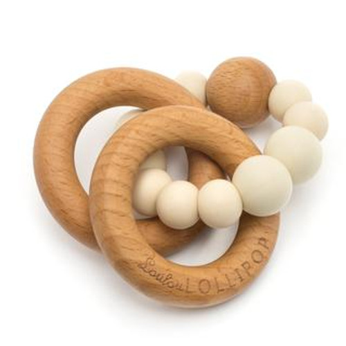 Teether by Loulou Lollipop - Wood and Silicone - Beige