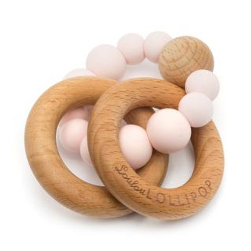 Teether by Loulou Lollipop - Wood and Silicone - Pink Quartz