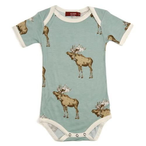 Milkbarn Bamboo Onesie Short-Sleeve - Bow Tie Moose