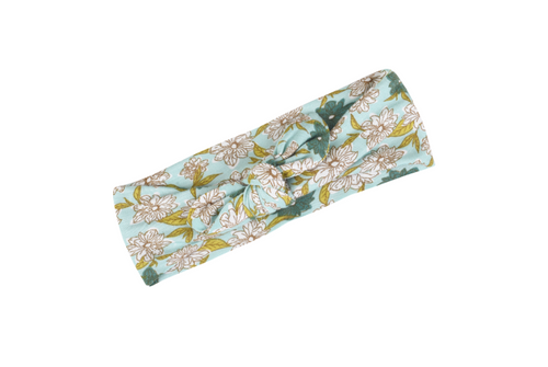 Blue Floral Bow Headband by Milkbarn - Bamboo