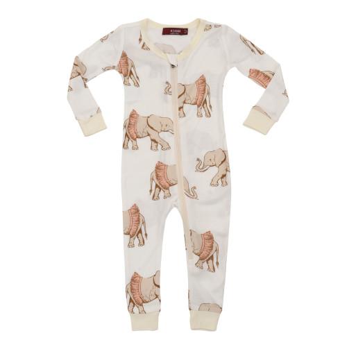 Milkbarn Bamboo Zipper Pajamas - Tutu Elephant