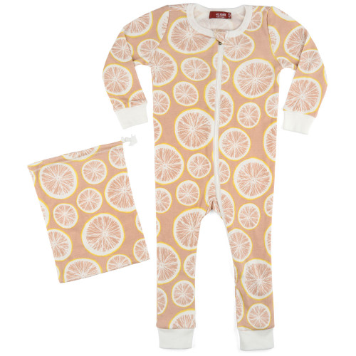 Milkbarn Organic Zipper Pajamas - Grapefruit