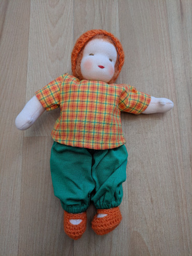 Handmade Dressable Doll with Orange Hat and Orange Hair