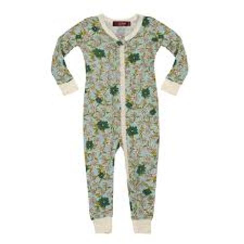 Milkbarn Bamboo Zipper Pajamas - Blue Floral