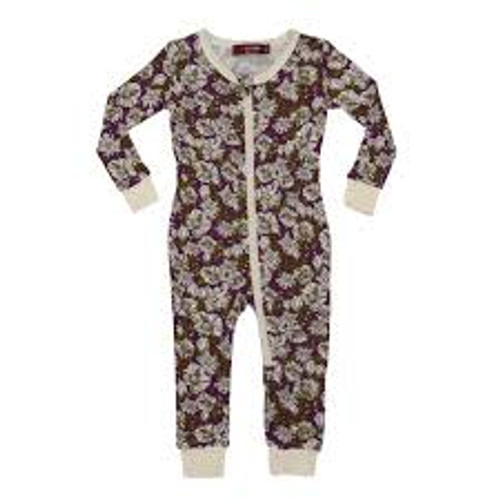 Milkbarn Bamboo Zipper Pajamas - Purple Floral