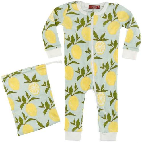 Milkbarn Organic Cotton Zipper Pajamas - Lemon