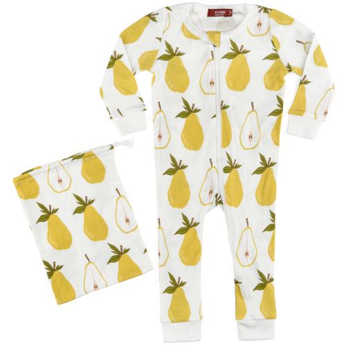 Milkbarn Organic Cotton Zipper Pajamas - Pear