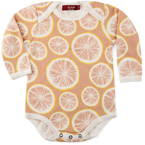 Milkbarn Organic Cotton Long Sleeve Onesie - Grapefruit