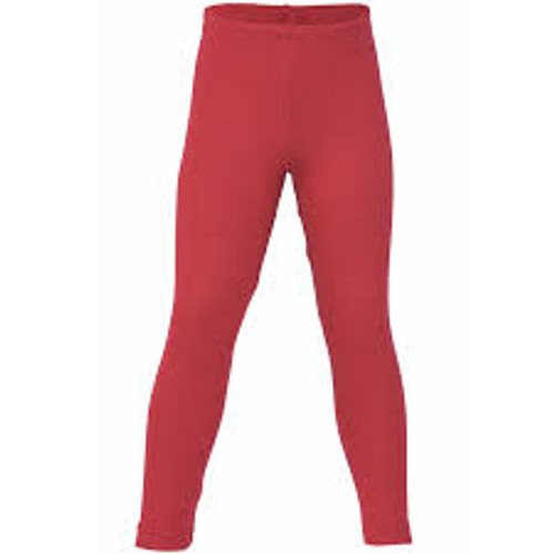Engel Organic Merino Wool/Silk Kids Leggings - Cherry Red