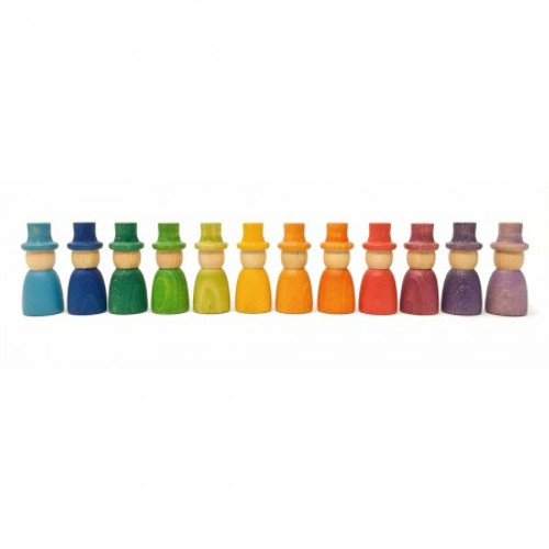 Grapat Coloured Wizard Nins with Hats 12 pc