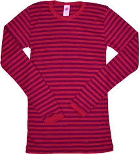 Engel Organic Merino Wool/Silk Kids Shirt - Cherry Red/Orchid (up to 12T)