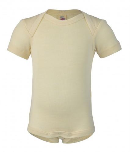 Engel Baby Short Sleeve Onesie Organic Merino Wool/Silk - Natural (up to 3 yrs)