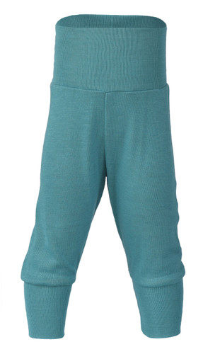 Engel Baby Pants with Waistband in Organic Merino Wool/Silk - Ice Blue