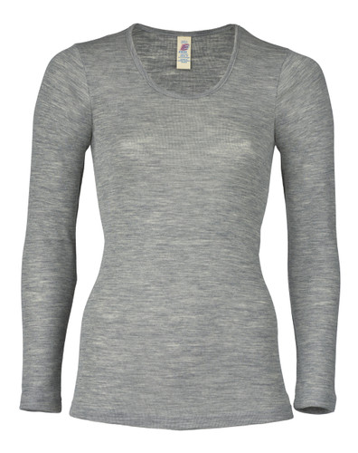 Engel Organic Merino Wool/Silk Women's Long Sleeved Shirt - Grey Melange