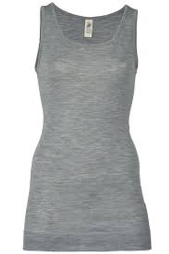 Engel Organic Merino Wool/Silk Women's Sleeveless Long Shirt - Grey Melange