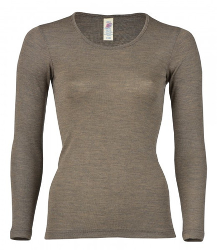 Engel Organic Merino Wool/Silk Women's Long Sleeved Shirt - Walnut