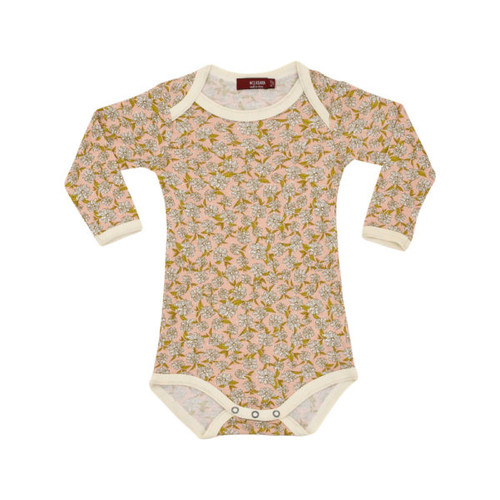 Milkbarn Bamboo Long Sleeve Onesie - Rose Floral