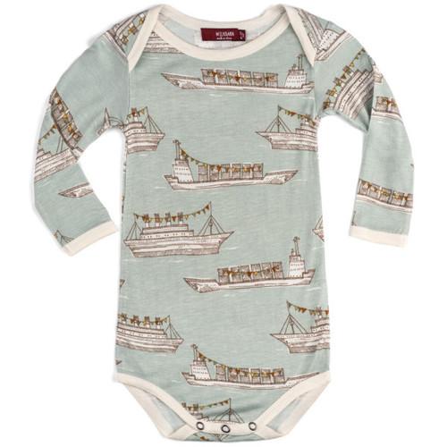 Milkbarn Bamboo Long Sleeve Onesie - Blue Ships