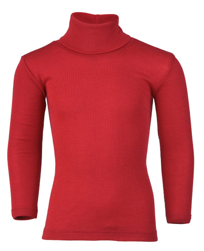 Engel Organic Merino Wool/Silk Kids Turtle Neck Shirt - Cherry Red (707410-16)