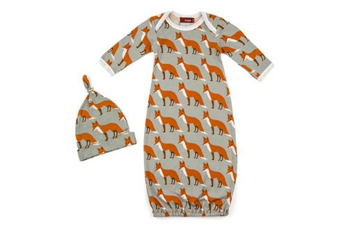 Milkbarn Organic Cotton Newborn Gown & Hat Set - Orange Fox