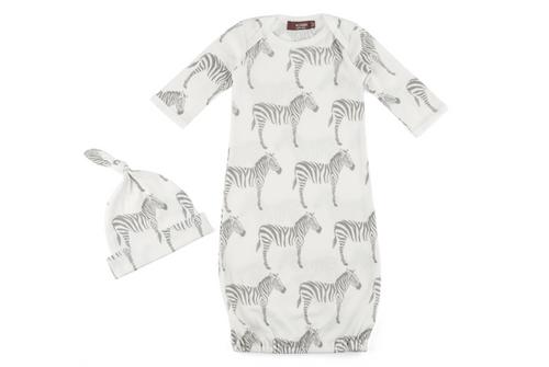 Milkbarn Organic Cotton Newborn Gown & Hat Set - Grey Zebra