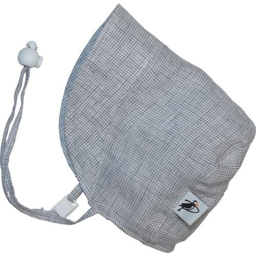 Puffin Gear Linen Bonnet - Grey Check