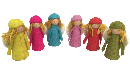 Papoose Bright Elves with Wings - Set of 6 (PP382)