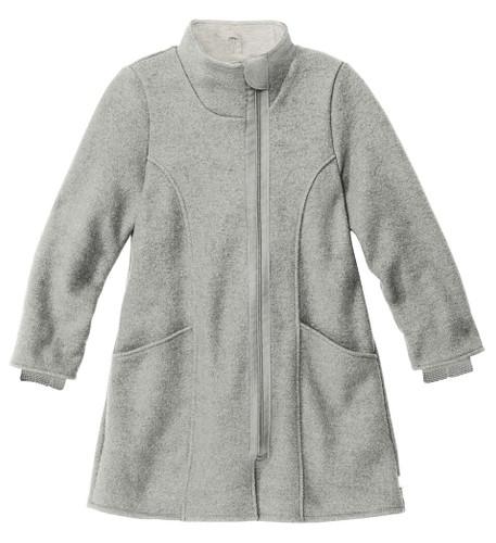 Disana Children's Boiled Wool Coat with Zipper Grey