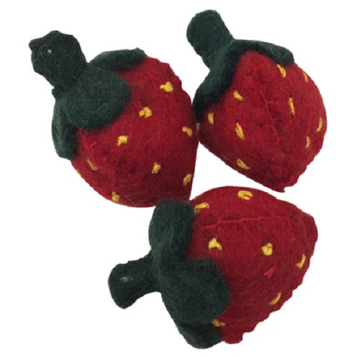 Papoose Felt Strawberries Set of 3 (PP060)