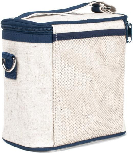 So Young Raw Linen Cooler Bag - Blue Robot