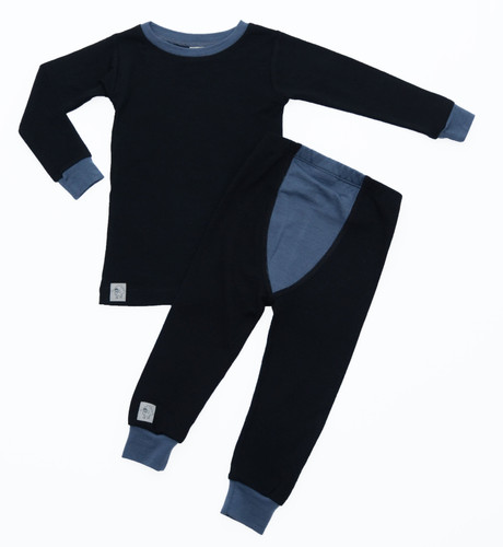 Wee Woollies Pajama 2 Piece Set - Raven/Charcoal (black/grey)