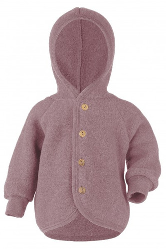 Engel Wool Fleece Hooded Jacket with Wooden Buttons - Rosewood Melange
