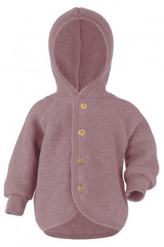 Engel Wool Fleece Hooded Jacket with Wooden Buttons - Rosewood Melange