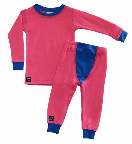 Wee Woollies Pajama 2 Piece Set - Honeysuckle/Bluebird (coral/blue)