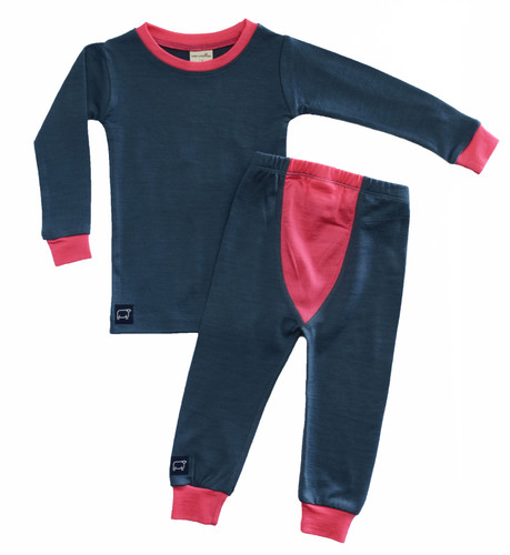 Wee Woollies Pajama 2 Piece Set - Charcoal/Honeysuckle (anthracite/coral)