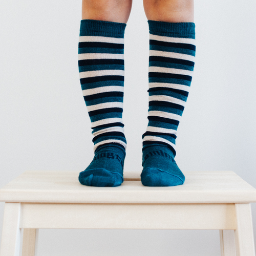 Lamington Knee High Length Wool Socks - Scout (deep lake blue, beige, navy)