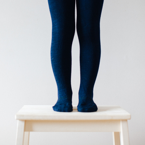 Lamington Merino Wool Tights Flat Knit - Navy