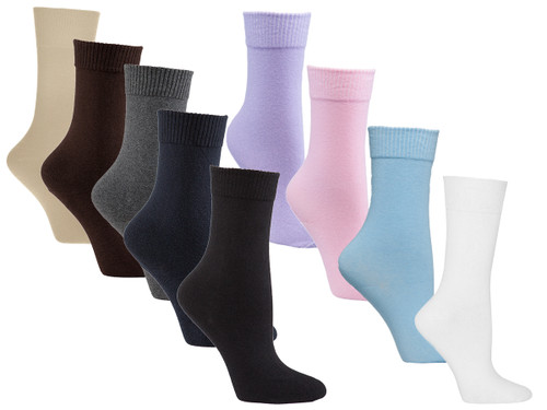 Womens Flat Knit Crew Diabetic Socks 3 Pack | Sock Size 9-11