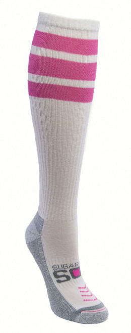 Sugar Free Sox Women's Cushioned Running  Compression Socks with Pink Tube Sock Striping