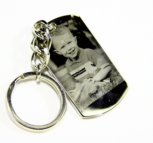 Rhodium Photo Engraved Dog Tag