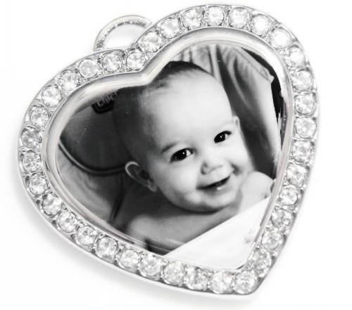 Photo Engraved Cubic Heart Pendant