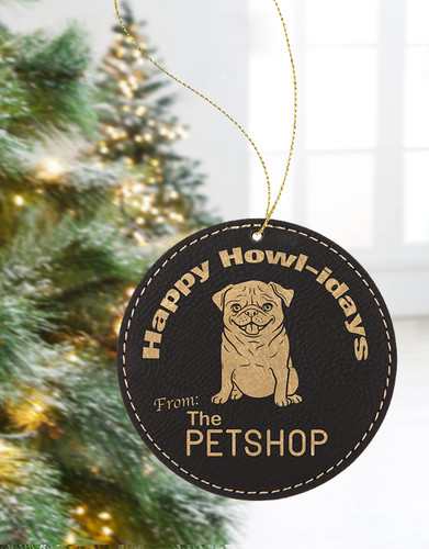 Personalized Leather Round Ornament
