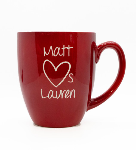 Personalized Large 16 oz Red Bistro Mug