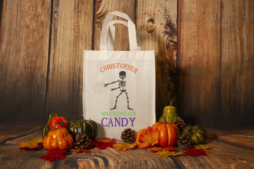 """Personalized """"Will Floss for Candy"""" Trick or Treat Bag"""