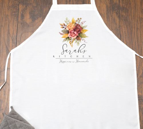 Personalized Fall Watercolor Floral Kitchen Apron