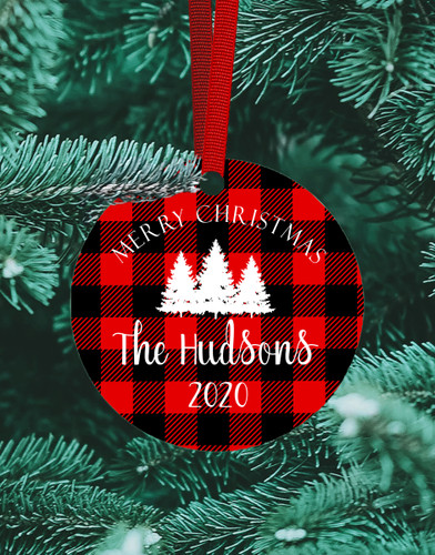 Personalized Buffalo Plaid Ornament