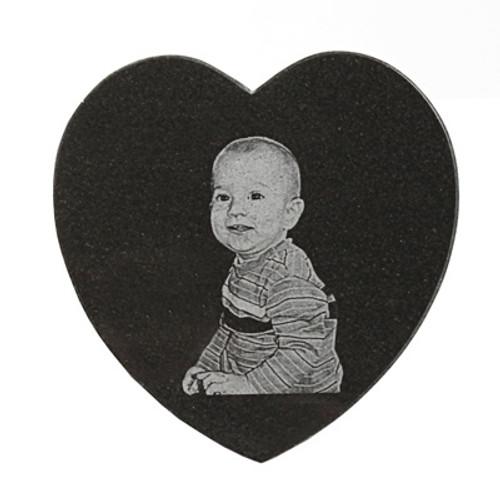 Photo Engraved Heart Granite Tile