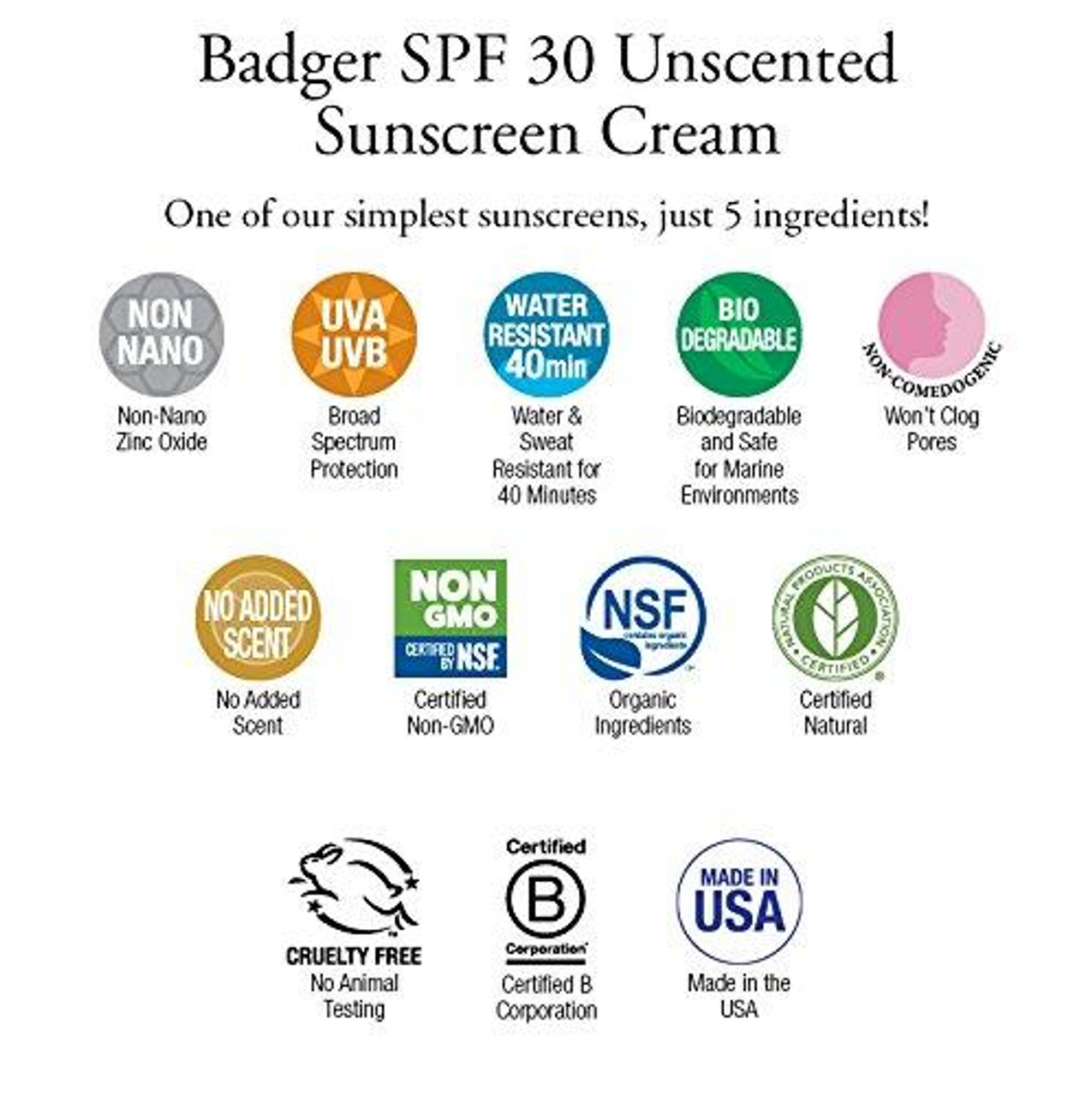 Badger SPF30 Natural Unscented Face and Body Sunscreen