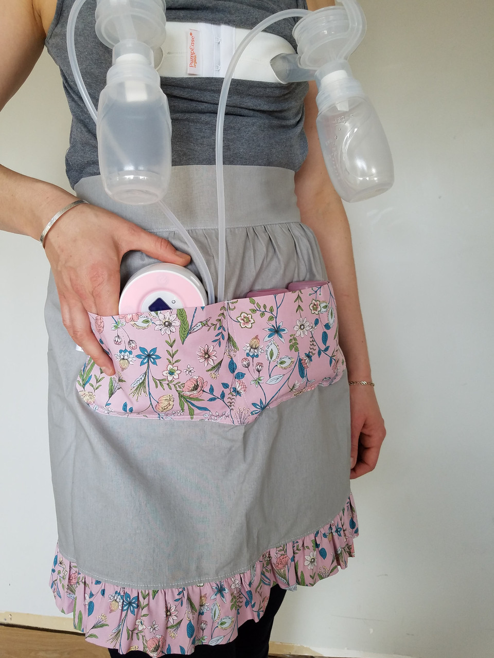 Hands free pumping or household apron.